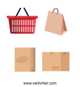 basket and bag shopping with boxes carton