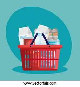 basket shopping with set groceries