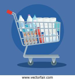 cart shopping with set groceries icons