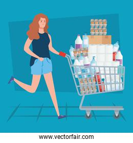 woman buying in overstocking by covid 19
