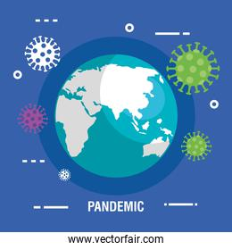 world planet with particles covid 19