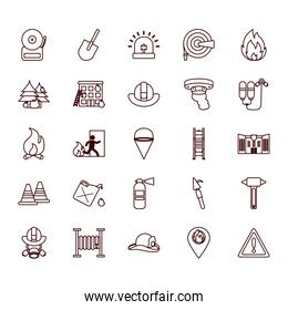 Fire and emergency line style icon set vector design