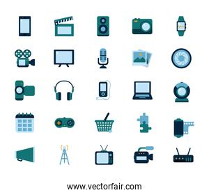 Multimedia and technology flat style icon set vector design
