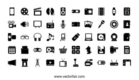Multimedia and technology silhouette style icon set vector design