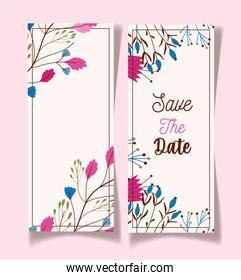 save the date fowers decorative floral wedding cards