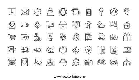 service logistic transport delivery icons thick line