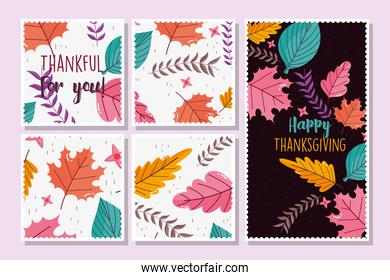 happy thanksgiving banners collection floral decoration