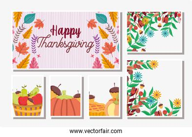 thanksgiving cards set food and foliage leaves season