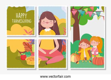 happy thanksgiving family, postcards set woman and girls park pumpkins fruits