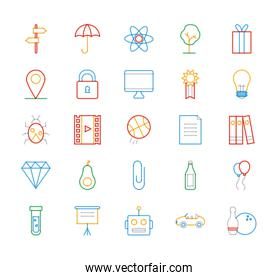 objects multiply line style icon set vector design