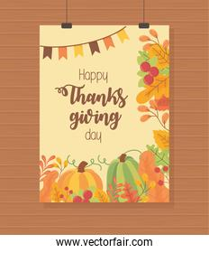 pumpkins garland foliage leaves happy thanksgiving poster
