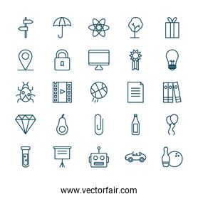 objects line style icon set vector design