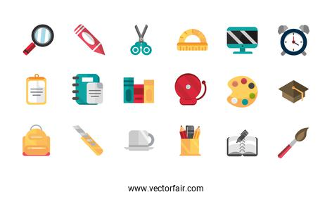 school and education supplies icons set