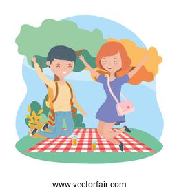 jumping couple   food picnic nature outdoors