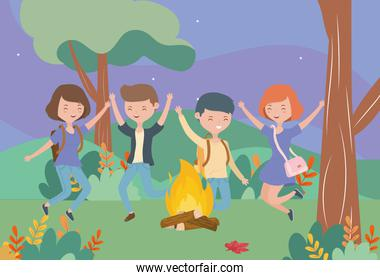 young people happy campfire nature landscape