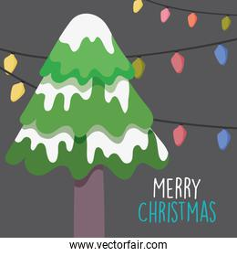 merry christmas celebration tree with snow and lights decoration
