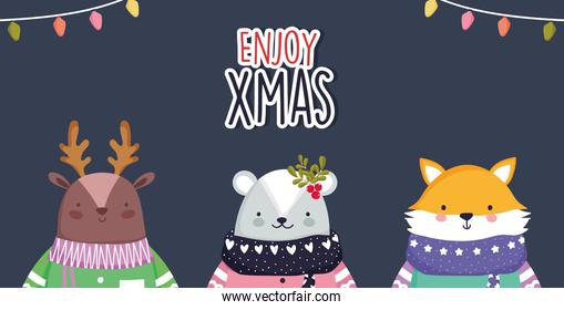 merry christmas celebration cute deer bear and fox with scarf and sweater lights