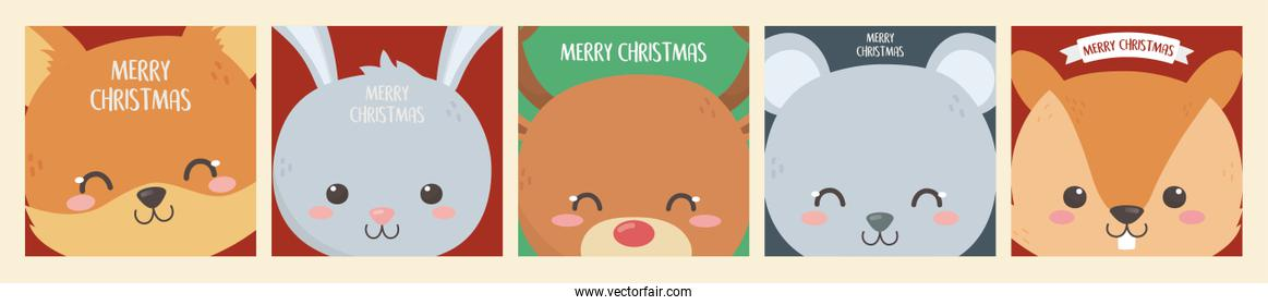 merry christmas celebration cute animals heads decoration banner