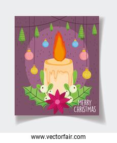 candle trees and balls decoration celebration merry christmas poster