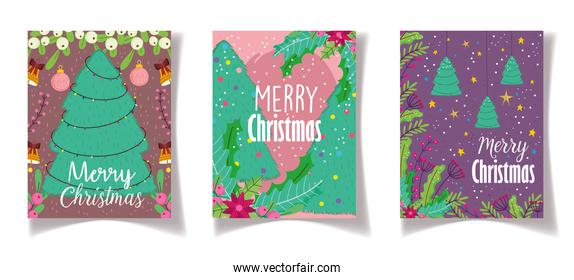 trees lights flower celebration merry christmas posters