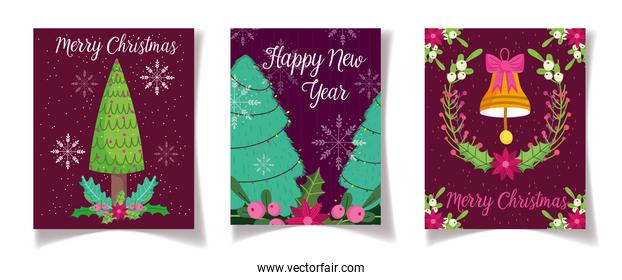 tree bell flower leaves celebration merry christmas and new year poster