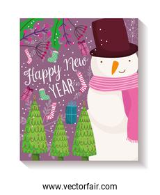 happy new year snowman trees gift sock decoration poster