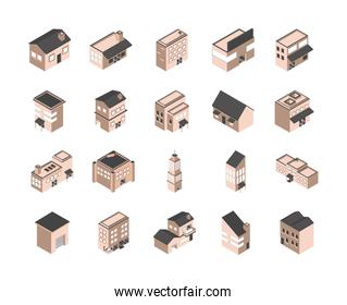 building isometric style icons set