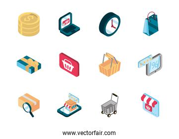 online shopping isometric icons collection