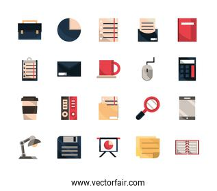 office work business equipment icons set