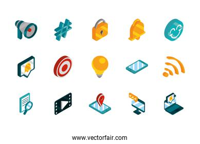 social media isometric icons collection