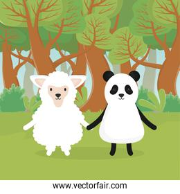 cute animals sheep and panda in the forest
