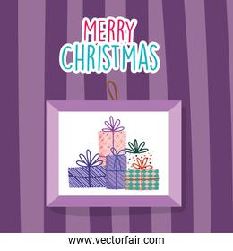 merry christmas celebration hanging frame gift boxes purple wall