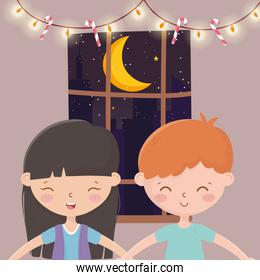 boy and girl glowing lights candy canes window night merry christmas
