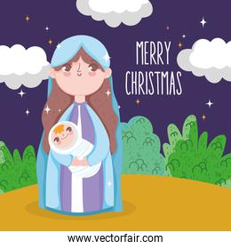 holy mary carrying baby jesus manger nativity, merry christmas