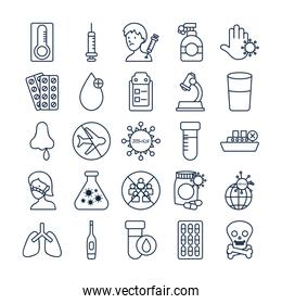 Icon set of injection and covid 19 concept, line style