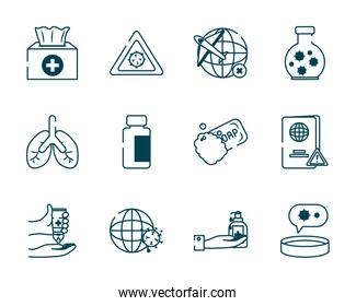 lungs and covid 19 concept icon set, line style