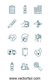 cardio heart and covid 19 concept icon set, line style