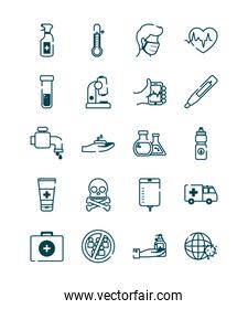 ambulance and covid 19 concept icon set, line style