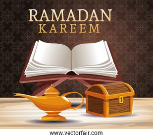 ramadan kareem celebration card with wooden chest and book
