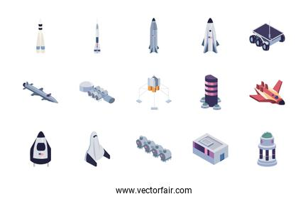 Isolated space fill style icon set vector design