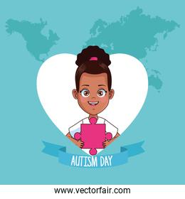 world autism day with girl afro in heart