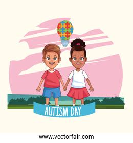 world autism day with kids couple characters