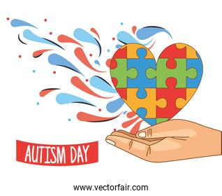 world autism day with hand lifting puzzle pieces