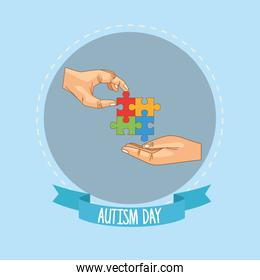world autism day with hands and puzzle game pieces