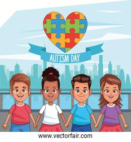 world autism day with kids and puzzle pieces