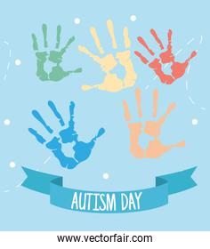 world autism day with hands print
