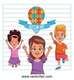 world autism day with kids and bulb puzzle