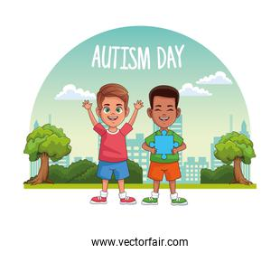 world autism day with boys in the field