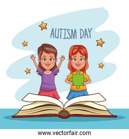 world autism day with girls and text book