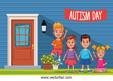 world autism day with kids in door